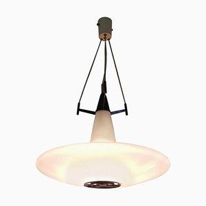 Lámpara colgante italiana Mid-Century grande de vidrio opalino, años 50