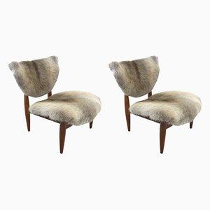 Skandinavische Mid-Century Sessel mit Gestell aus Teak, 1950er, 2er Set