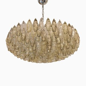 Lámpara de araña Poliedri de vidrio ámbar, años 80
