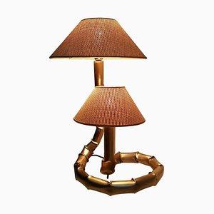 Tischlampe in Bambus-Optik, 1970er
