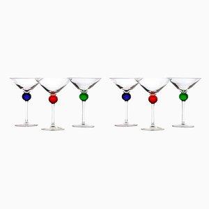 Bicchiere da cocktail in vetro di Murano di Cenedese, anni '60, set di 6