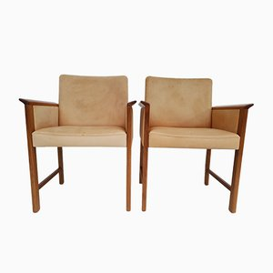 Danish Teak and Leather Armchairs by Hans Olsen for Skipper, 1960s, Set of 2
