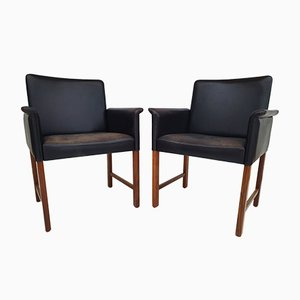 Danish Leather and Rosewood Armchairs by Hans Olsen for Skipper, 1960s, Set of 2