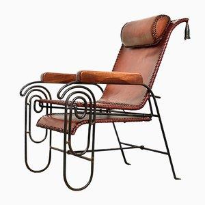 Mid-Century Sessel aus Schmiedeeisen & Leder, 1950er