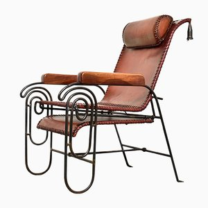 Mid-Century Wrought Iron and Leather Lounge Chair, 1950s