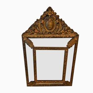 Kleiner Vintage Spiegel mit glasiertem Rahmen