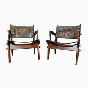 Wood and Leather Lounge Chairs by Angel I. Pazmino for Muebles de Estilo, 1960s, Set of 2