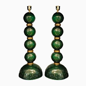 Murano Gold Leaf Table Lamps, 2000s, Set of 2