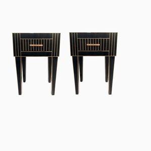 Tables de Chevet en Cristal Noir et Laiton par Zenza, Set de 2