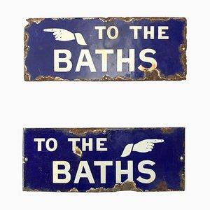 Vintage Industrial Enamel Signs, 1920s, Set of 2