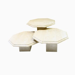 Octagonal Travertine Side Tables, 1970s, Set of 3