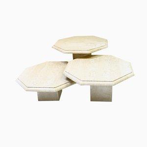 Tables d'Appoint Octogonales en Travertin, années 70, Set de 3