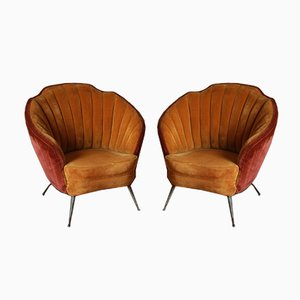Brass and Velvet Armchairs, 1950s, Set of 2