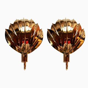 Brass Gilded Palm Sconces, 1980s, Set of 2