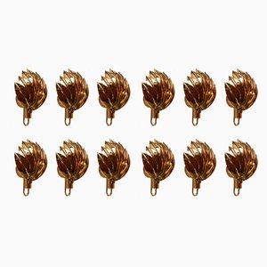 Apliques de latón chapados en oro, años 80. Juego de 9