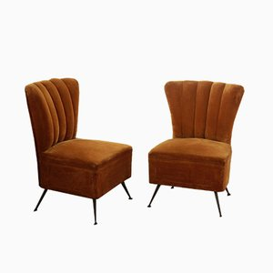 Brass and Velvet Scallop Side Chairs, 1950s, Set of 2