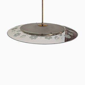 Lámpara de araña de vidrio y latón de Pietro Chiesa para Fontana Arte, años 40
