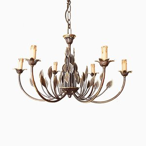 Vintage French Brass Chandelier, 1970s