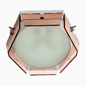 Italienische Vintage Deckenlampe aus Glas & verchromtem Stahl von Veca, 1970er