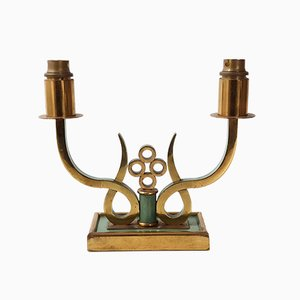 Mid-Century French Brass and Steel Table Lamp, 1950s
