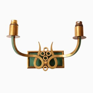 Mid-Century French Brass and Steel Sconce, 1950s