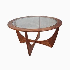 Mesa de centro danesa vintage redonda de teca y vidrio de G-Plan, años 60