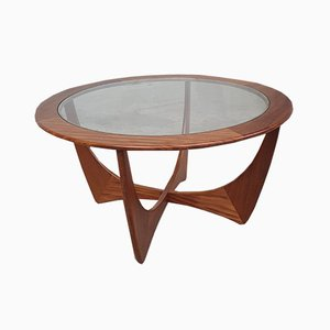 Vintage Danish Glass and Teak Round Coffee Table from G-Plan, 1960s