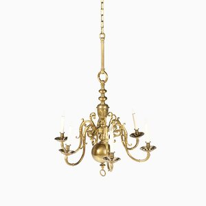 Antique Baroque Style Dutch Brass Chandelier, 1880s