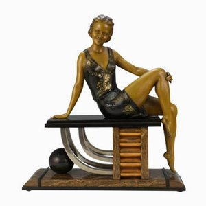 French Art Deco Spelter Sculpture by Enrique Molins-Balleste, 1929