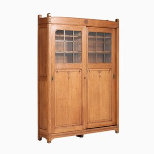 Antique Art Nouveau Oak Cabinet, 1900s