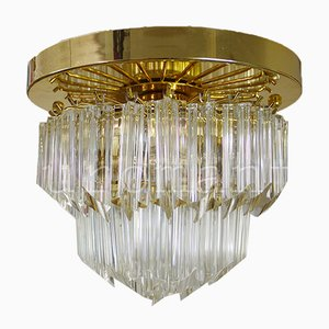 Gold-Plated & Crystal Chandelier by Paolo Venini for Camer, Italy, 1970s