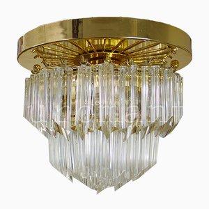 Italienischer Kronleuchter mit vergoldetem Rahmen & Behang aus Kristallglas von Paolo Venini für Camer, 1970er