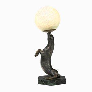 Art Déco Tischlampe mit Seelöwen-Figur von Louis-Albert Carvin, 1920er