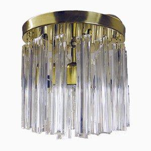Italienischer Kronleuchter mit vergoldetem Rahmen & Behang aus Kristallglas von Paolo Venini für Camer, 1960er