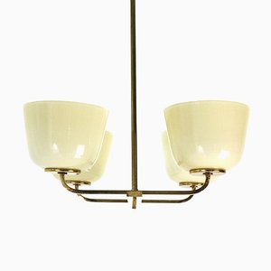 Brass and Opaline Glass Chandelier, 1950s