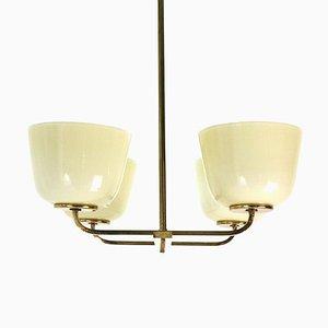 Lámpara de araña de latón y vidrio opalino, años 50