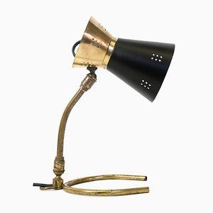 Kleine Tischlampe in Schwarz & Gold, 1950er