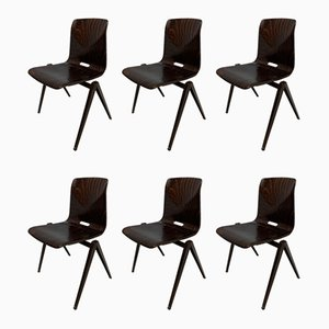 Vintage School Chairs from Pagholz Flötotto, 1970s, Set of 6
