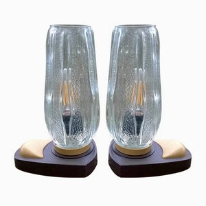 Molded Glass Table Lamps, 1970s, Set of 2