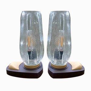 Tischlampen aus geformtem Glas, 1970er, 2er Set