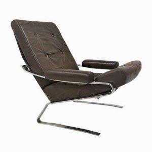 Vintage Sessel mit verchromtem Gestell & Lederbezug, 1970er