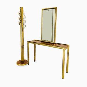 Juego de espejo, mesa consola y perchero vintage de latón, años 70