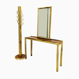 Vintage Brass Mirror, Console Table, and Coat Stand Set, 1970s
