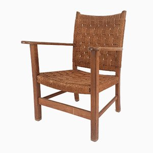 Vintage Dutch Oak and Rope Armchair, 1940s