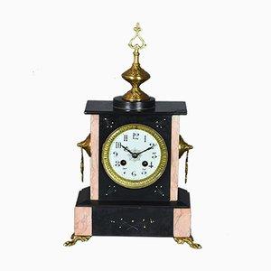 Reloj de repisa francés antiguo de mármol y pizarra