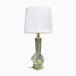 Italienische Mid-Century Tischlampe aus Kristallglas, 1960er