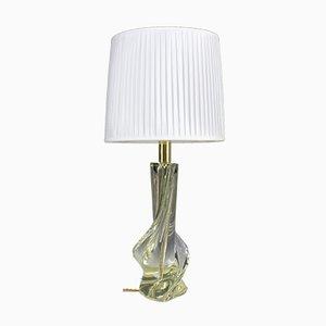Lámpara de mesa italiana Mid-Century de cristal, años 60