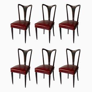 Esszimmerstühle mit Bezug aus rotem Aalleder, 1940er, 6er Set