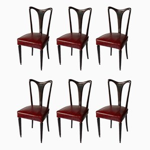 Red Eel Leather Dining Chairs, 1940s, Set of 6