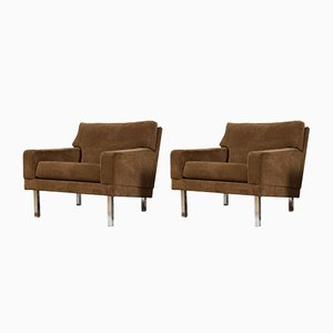 Danish Chocolate Brown Armchairs by Poul Nørreklit for Selectform, 1960s, Set of 2